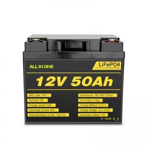 12V 50Ah laetav sügava tsükli Lifepo4 aku elektrisüsteemi jaoks
