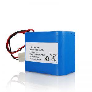 6.4V 12Ah LiFePO4 laaditav liitium 26650 32650 aku koos pistikuga päikesevalguse jaoks